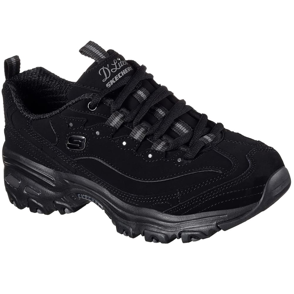 SKECHERS Women's D'Lites - Play On Sneakers - BLACK-BBK