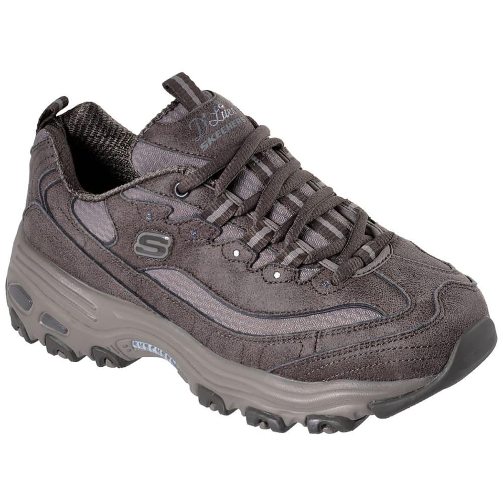 SKECHERS Women's D'Lites - New School Sneakers - DARK TAUPE-DKTP
