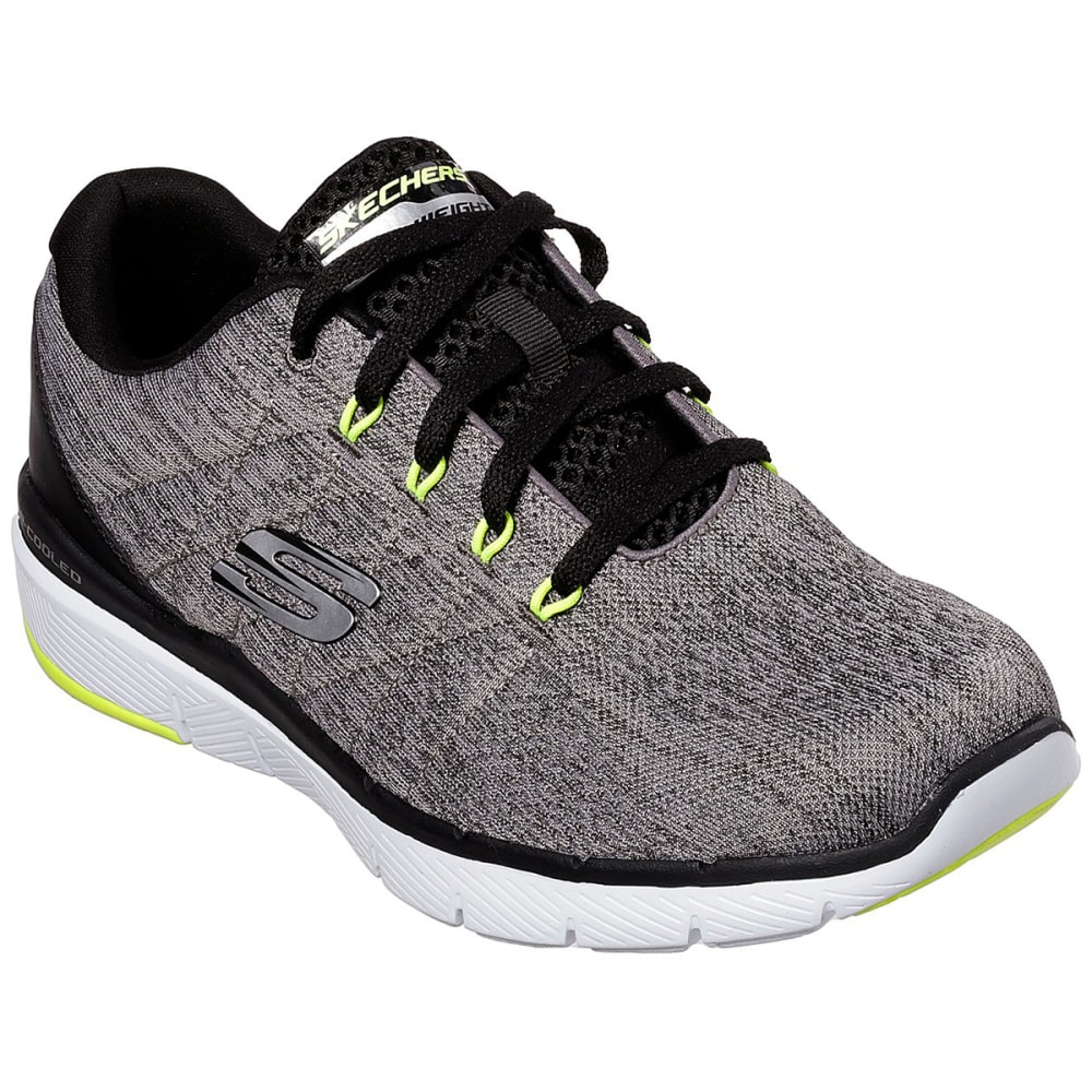 SKECHERS Men's Flex Advantage 3.0 – Stally Sneakers - GREY/BLK-GYBK