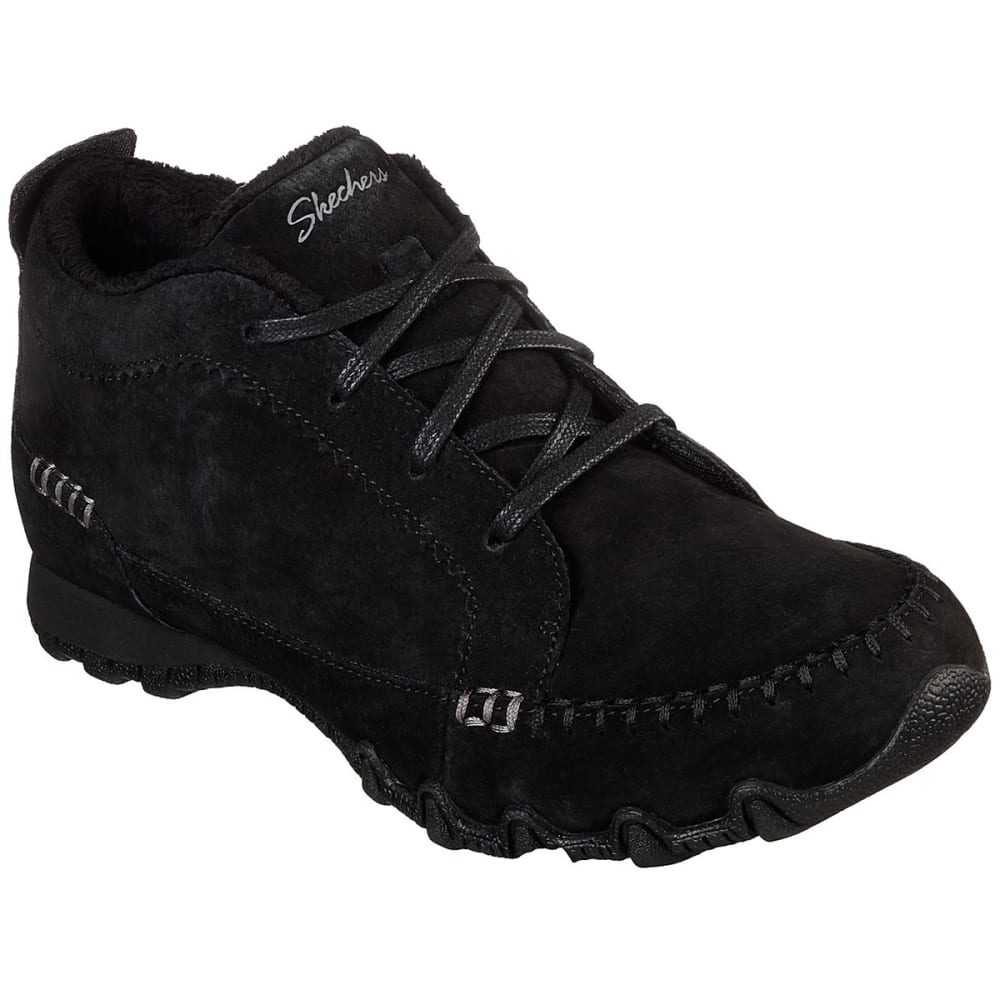SKECHERS Women's Relaxed Fit BikersLineage Lace-Up Chukka Boots - BLACK-BLK