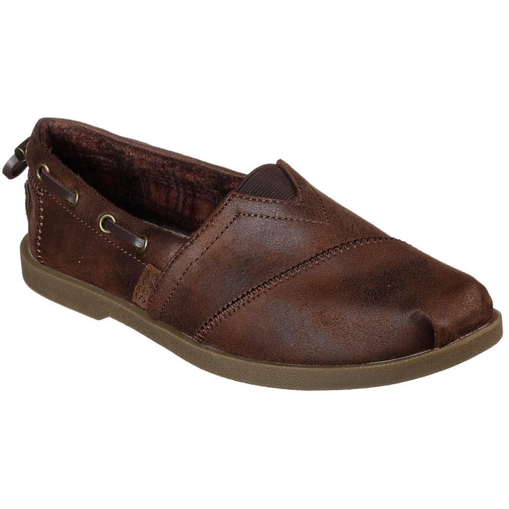 SKECHERS Women's Bobs Chill Luxe - Buttoned Up Casual Slip-On Shoes - BROWN-BRN