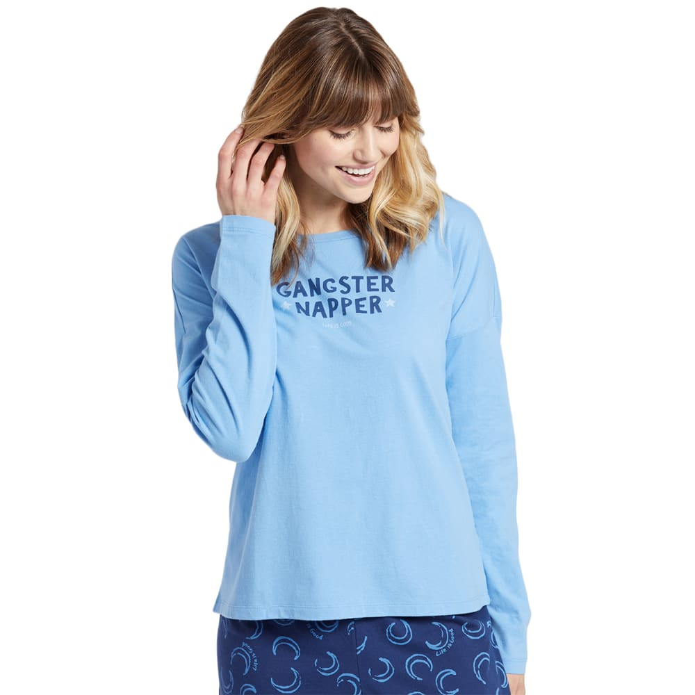 Life Is Good Women's Gangster Napper Snuggle Up Long-Sleeve Sleep Tee - Blue, S