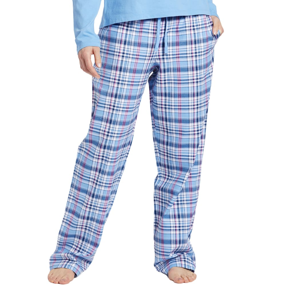 Life Is Good Women's Sleepy Powder Plaid Classic Sleep Pants - Blue, L