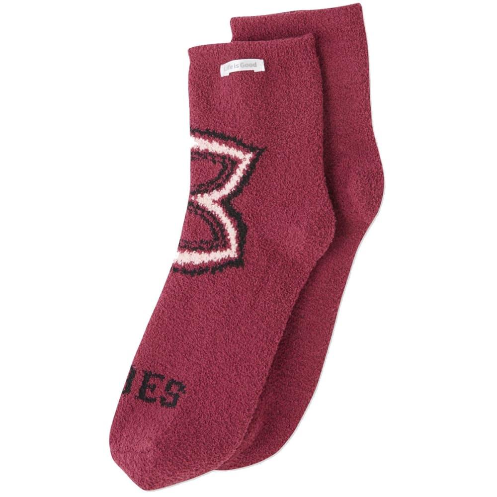 LIFE IS GOOD Women's Mandala Vibes Plush Snuggle Socks - WILD CHERRY