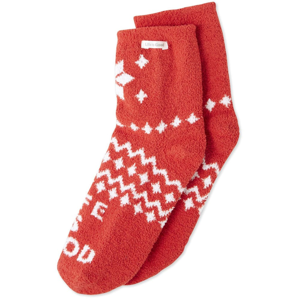 LIFE IS GOOD Women's Snowflake Pattern Plush Snuggle Socks - AMERICANA RED