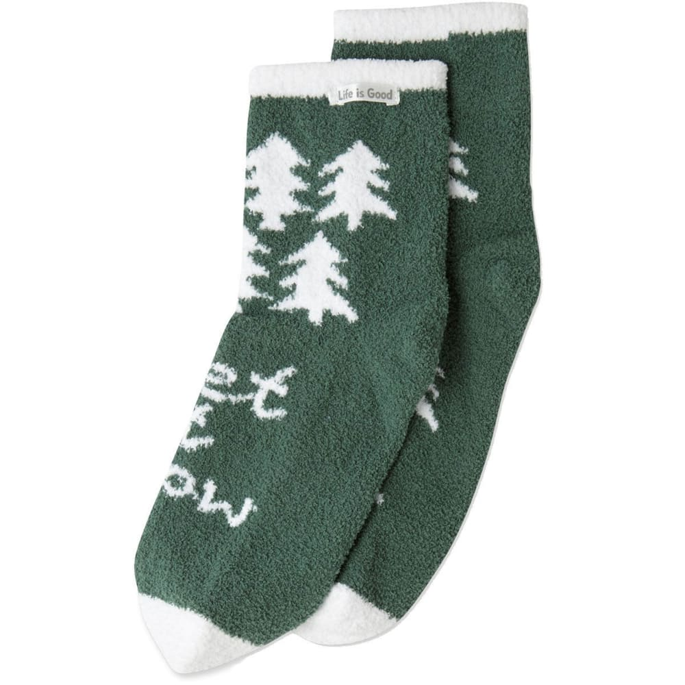 LIFE IS GOOD Women's Pine Tree Pattern Plush Snuggle Socks - FOREST GREEN