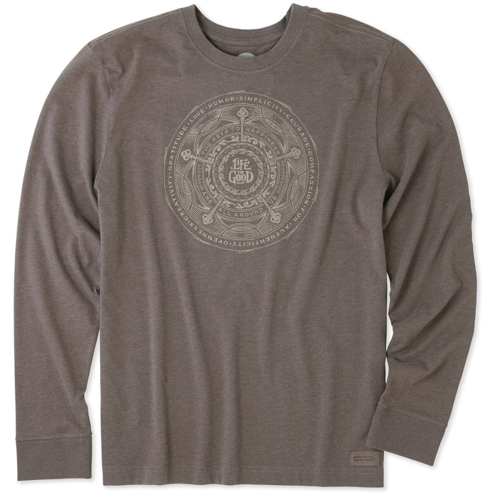 LIFE IS GOOD Men's Keys To Happiness Crusher Long-Sleeve Tee - BROWN
