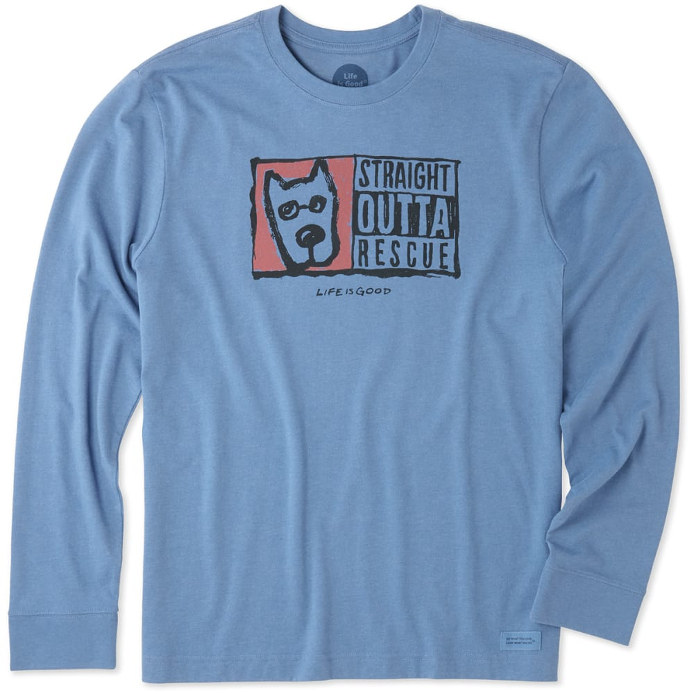 LIFE IS GOOD Men's Straight Outta Rescue Crusher Long-Sleeve Tee - VINTAGE BLUE
