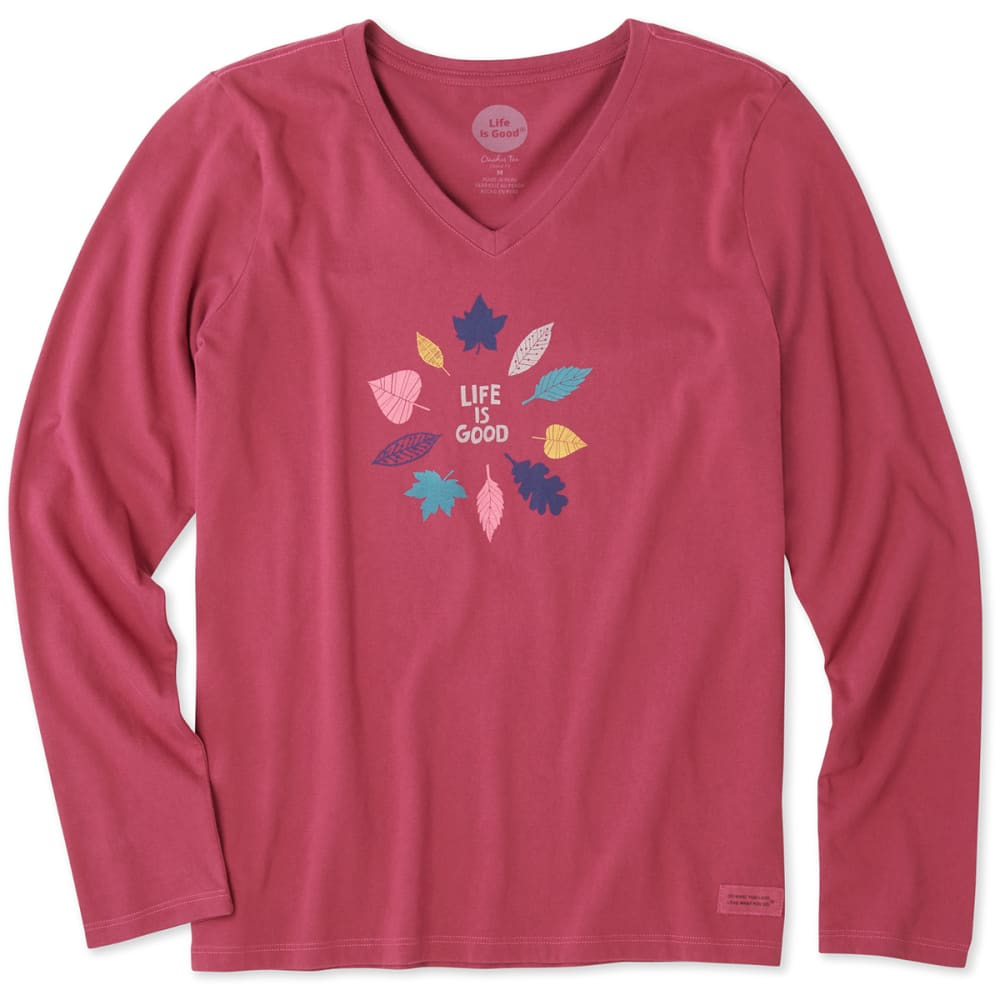 LIFE IS GOOD Women's Colorful Leaves Crusher V-Neck Long-Sleeve Tee - WILD CHERRY