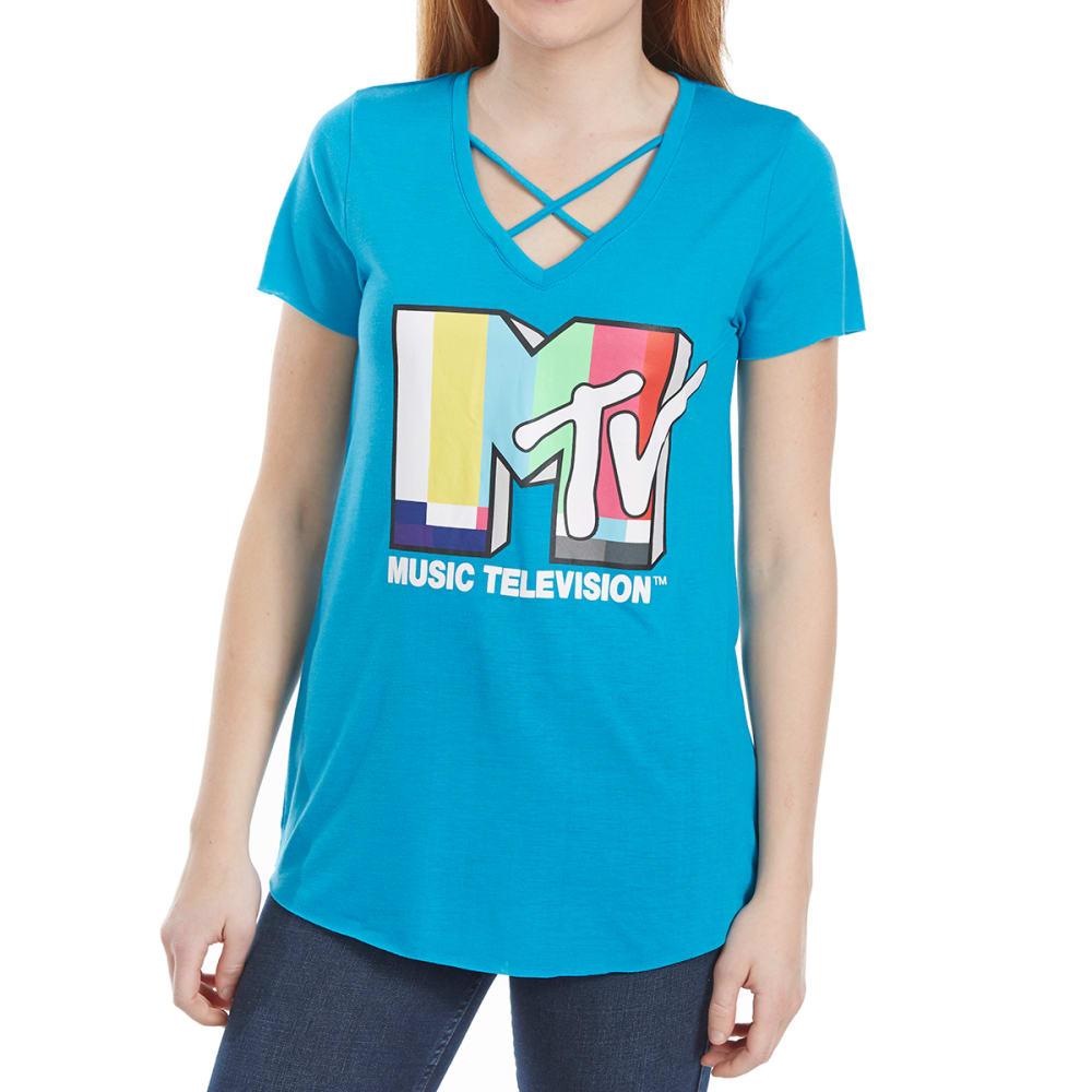 FREEZE Juniors' MTV Crisscross Neck Short-Sleeve Tee S