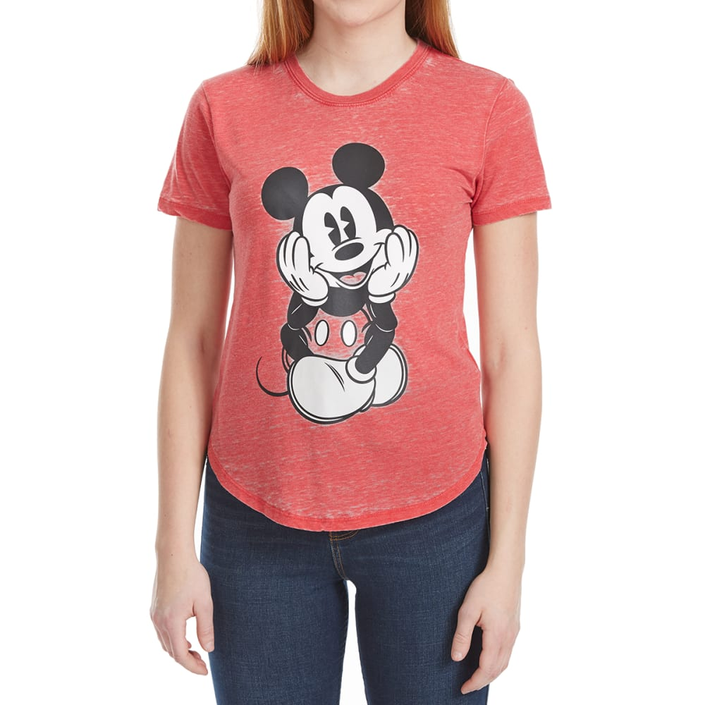 FREEZE Juniors' Burnout Shirttail Mickey Short-Sleeve Tee - RED