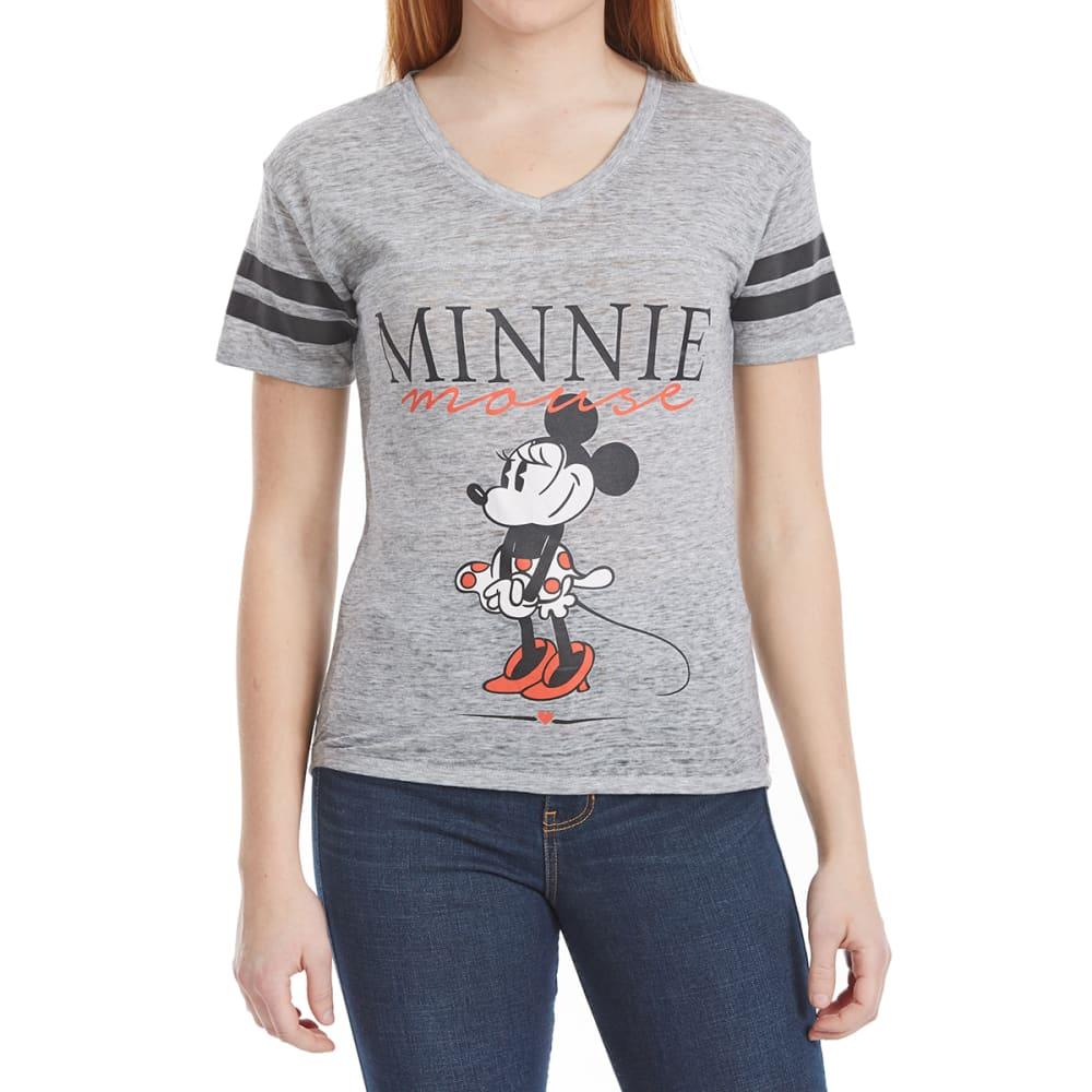FREEZE Juniors' Burnout Hockey Minnie Mouse Short-Sleeve Tee - HEATHER GREY/BLACK