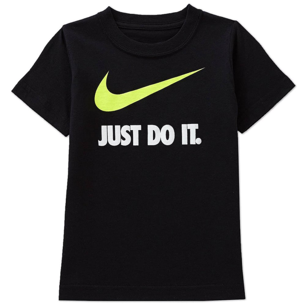 NIKE Little Boys' Just Do It Short-Sleeve Tee - BLACK/VOLT-KE4