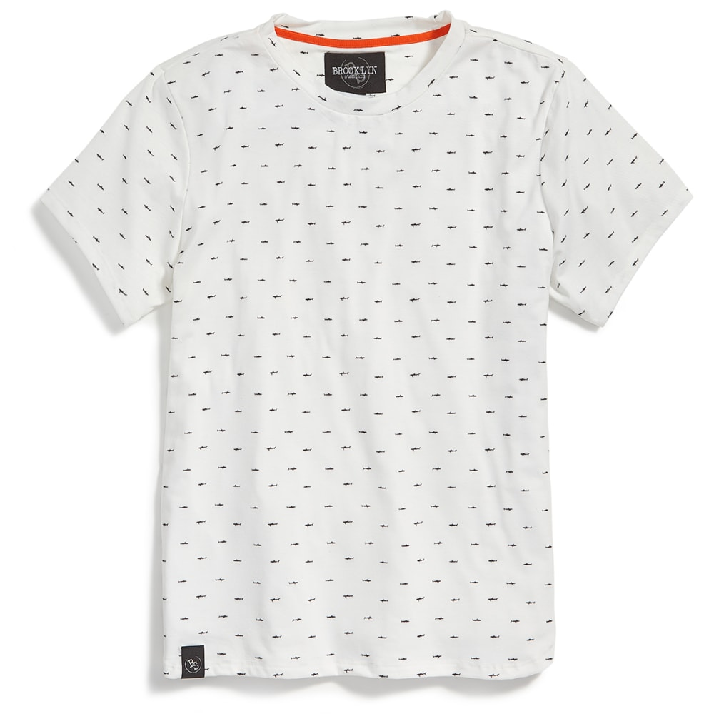 BROOKLYN STANDARD Guys' Shark All-Over Print Short-Sleeve Graphic Tee - WHITE/BLACK