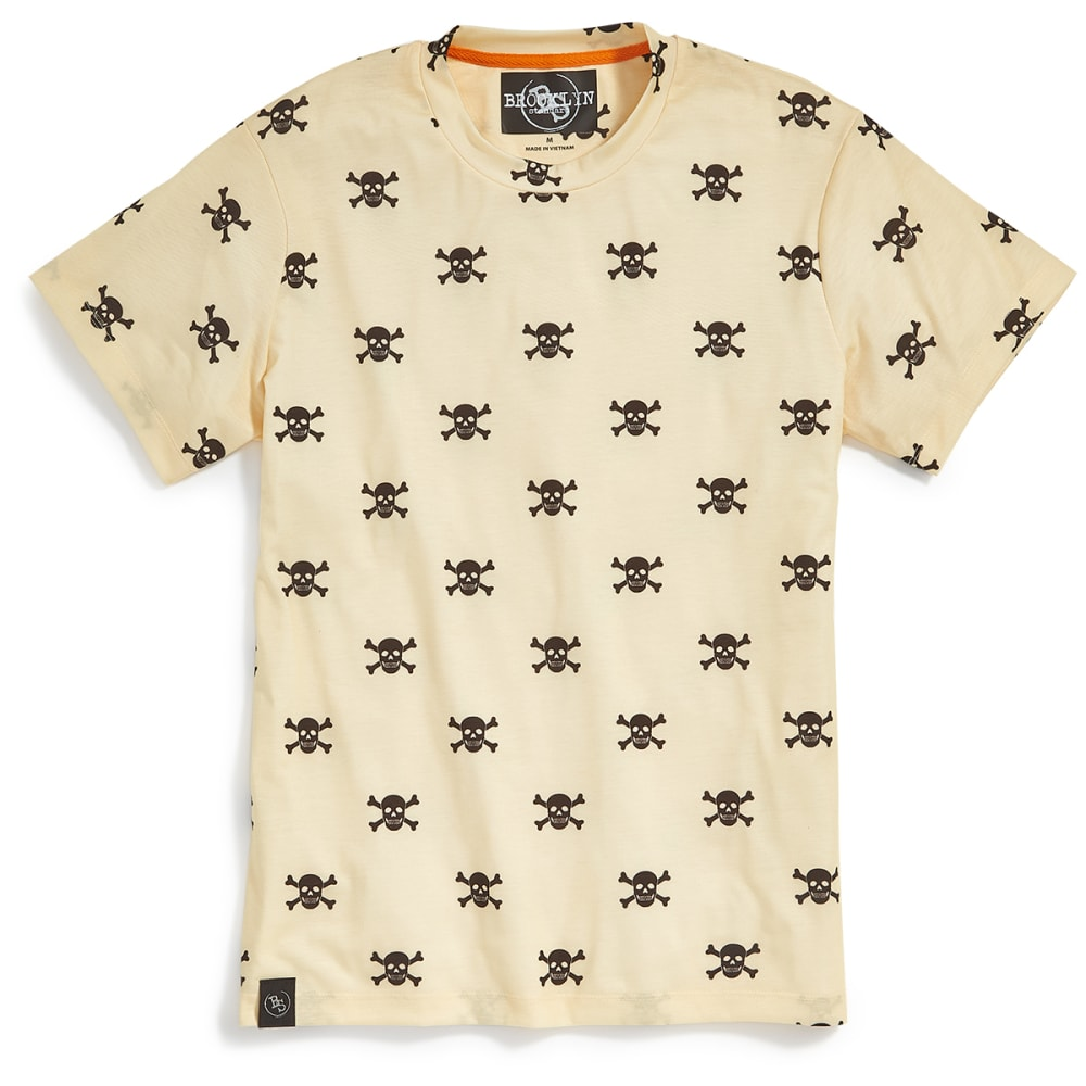 BROOKLYN STANDARD Guys' Mini Skull and Crossbones All-Over Print Short-Sleeve Tee - BUTTER