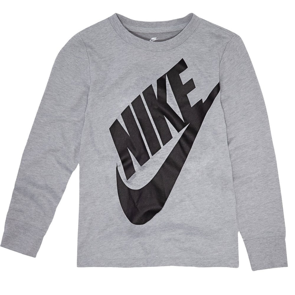 NIKE Little Boys' Jumbo Futura Long-Sleeve Tee - DARK GREY HTR-042