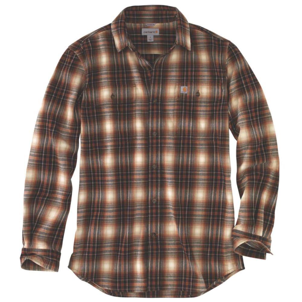 Carhartt Men's Hubbard Plaid Long-Sleeve Flannel Shirt - Brown, M
