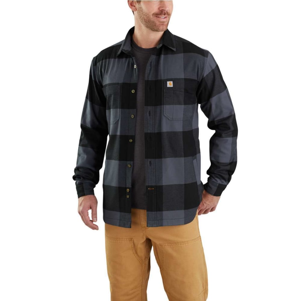 CARHARTT Men's Rugged Flex Hamilton Fleece-Lined Shirt Jacket - 470 BLUESTONE