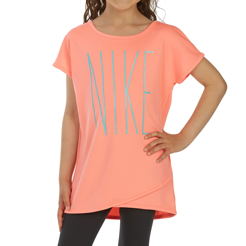 NIKE Little Girls' Crossover Short-Sleeve Tunic Top - ATOMIC PINK-A6E