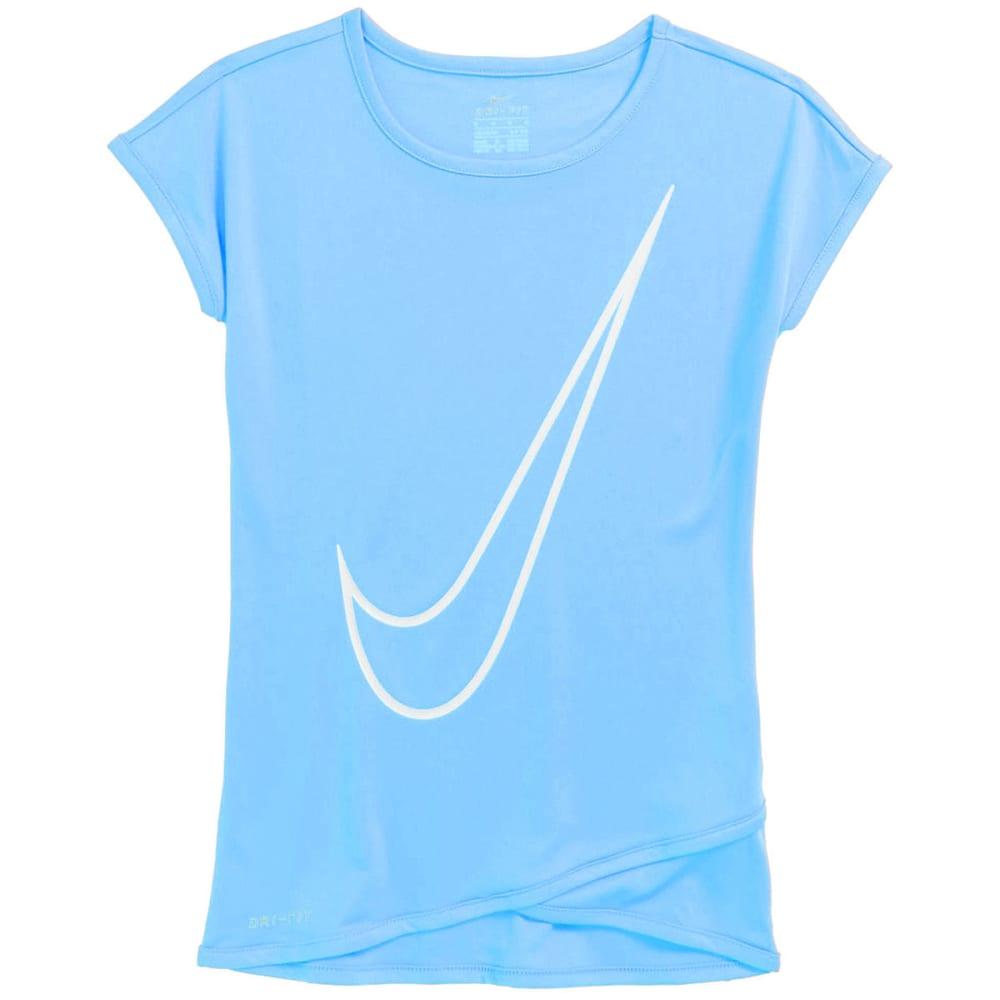 NIKE Little Girls' Crossover Swoosh Short-Sleeve Tunic Top - ROYAL PULSE-U8H