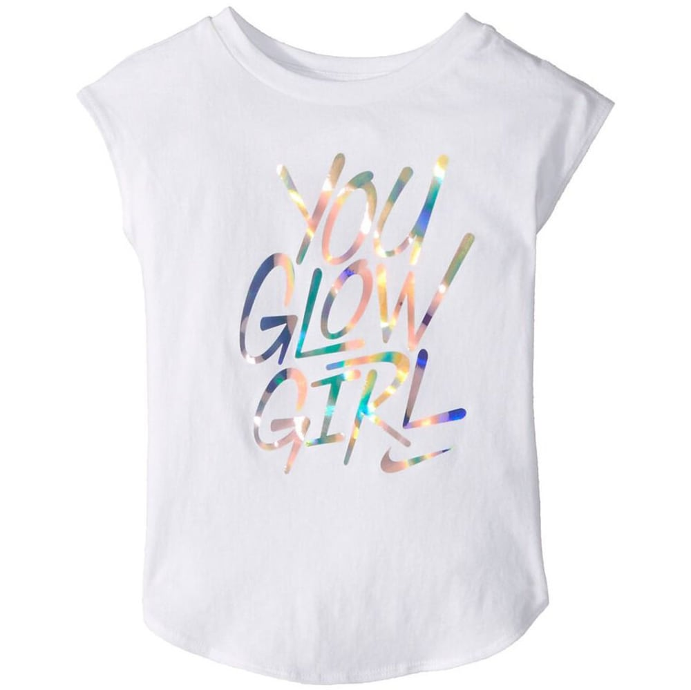 NIKE Little Girls' You Glow Girl Short-Sleeve Tee - WHITE-001