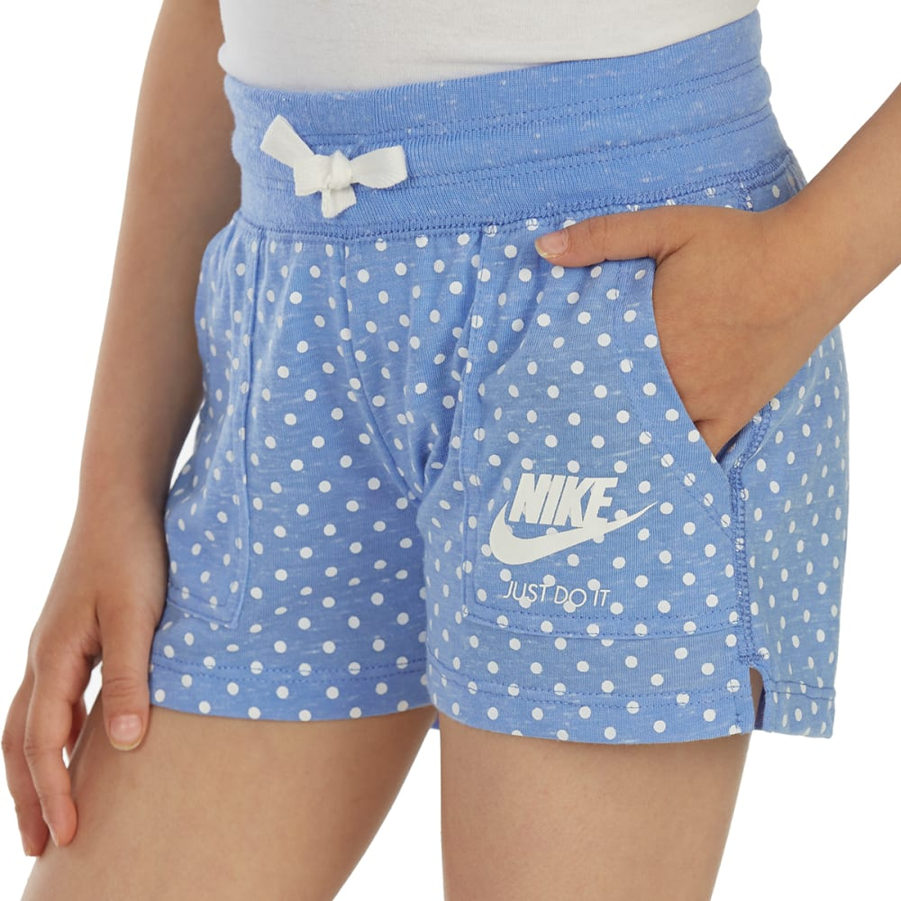 NIKE Little Girls' Gym Vintage AOP Shorts - ROYAL PULSE-U8H