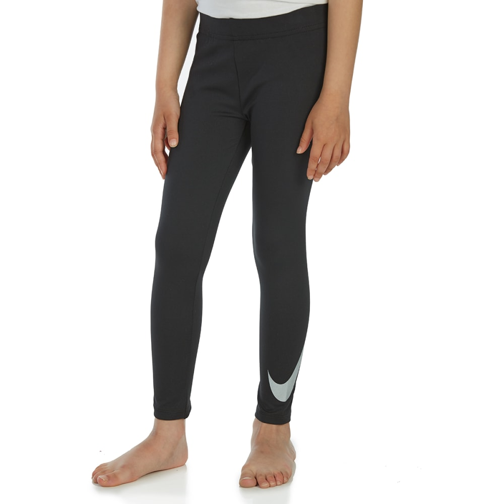 NIKE Little Girls' Essentials Metallic Leggings - BLACK-023