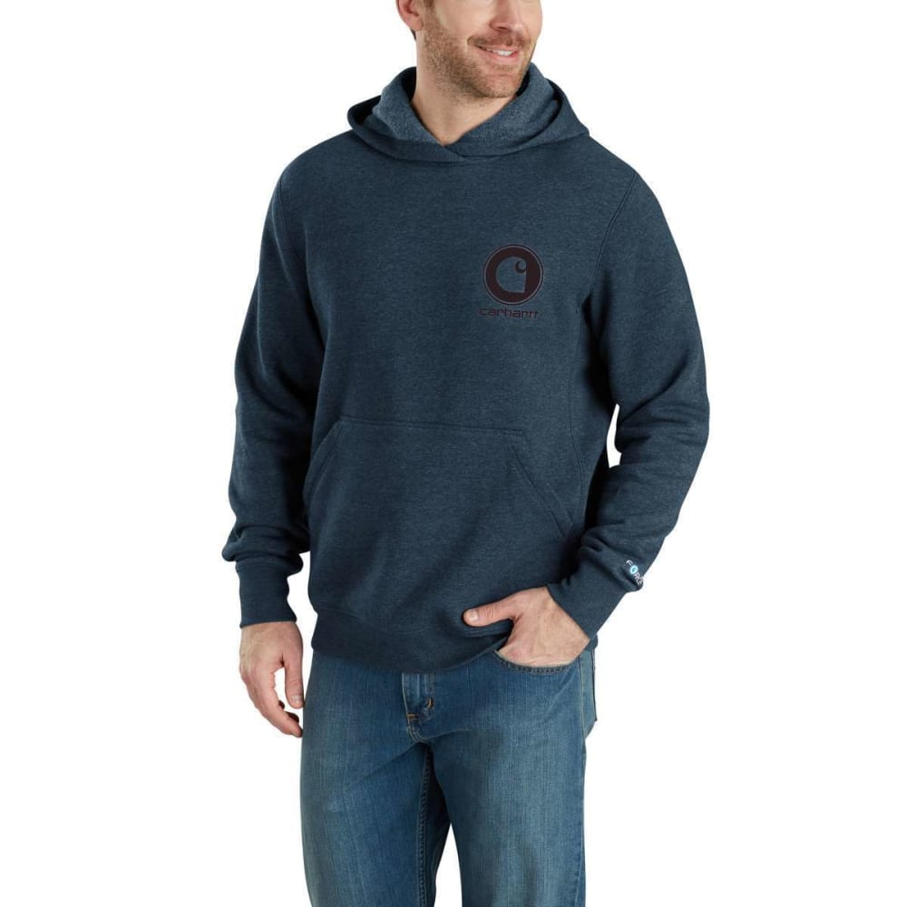 Carhartt Men's Force Delmont Graphic Hooded Sweatshirt - Blue, M