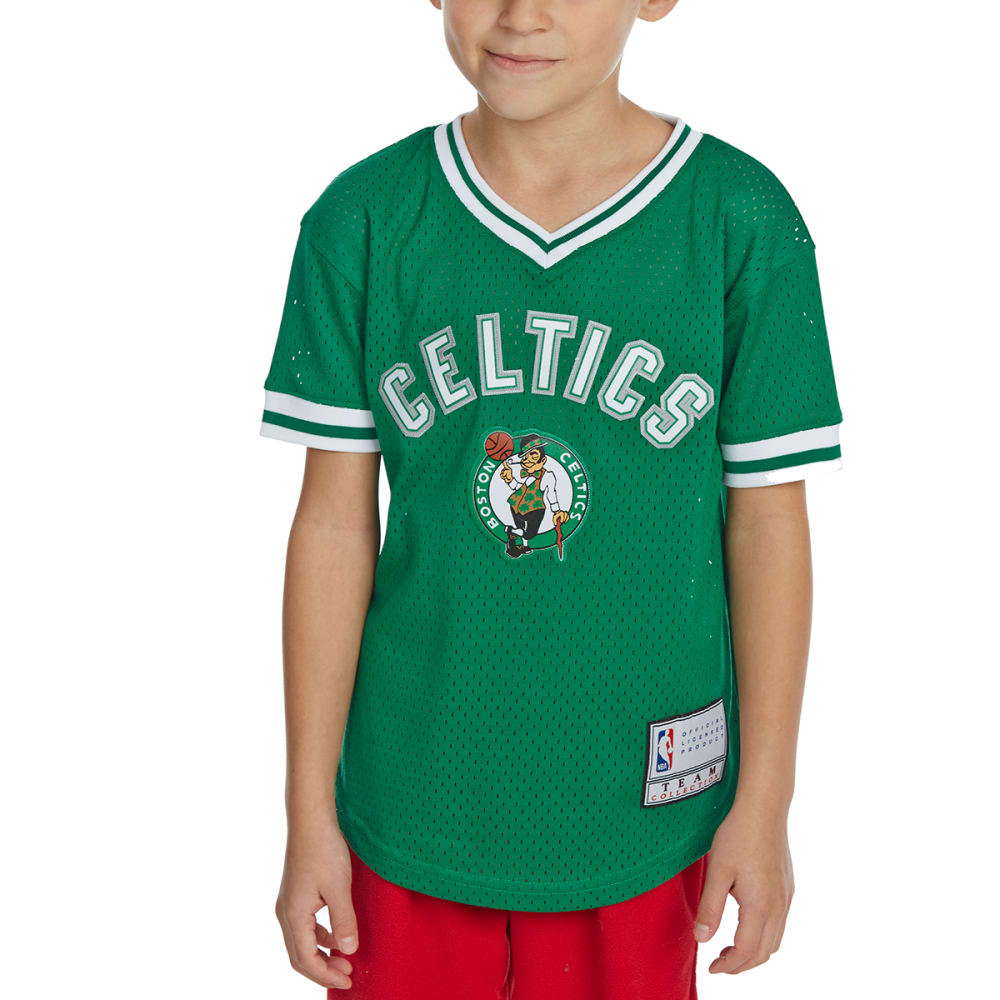 BOSTON CELTICS Little Boys' V-Neck Mesh Short-Sleeve Fashion Top - GREEN