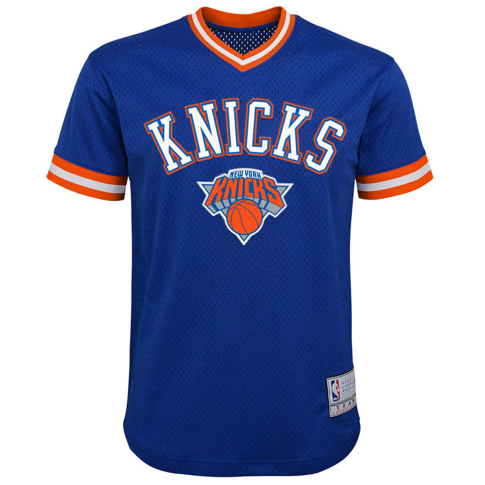 NEW YORK KNICKS Big Boys' V-Neck Mesh Short-Sleeve Fashion Top - ROYAL BLUE