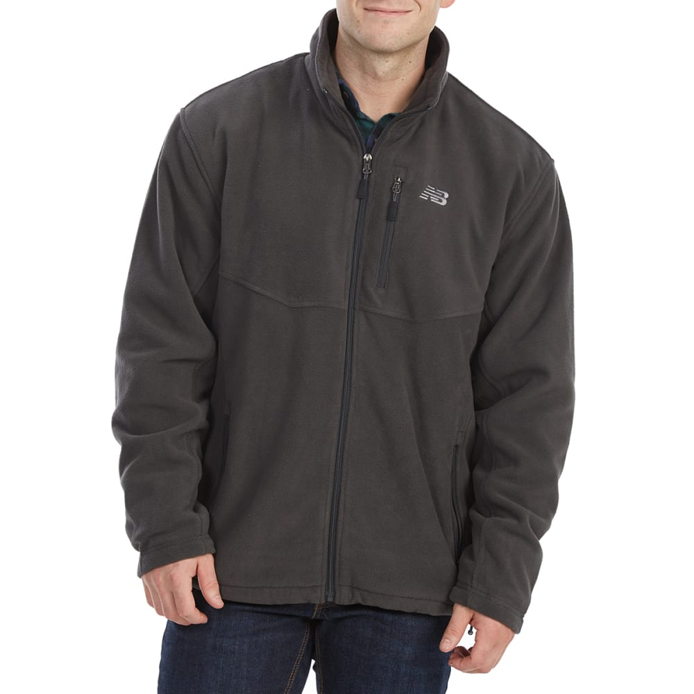 New Balance Men's Sherpa-Lined Self-Collar Polar Fleece Jacket - Black, M