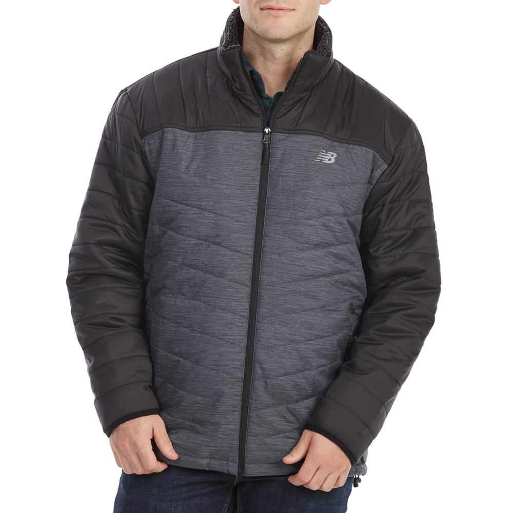 NEW BALANCE Men's Sherpa-Lined Puffer Jacket - CHARCOAL/SPCDY/BLK