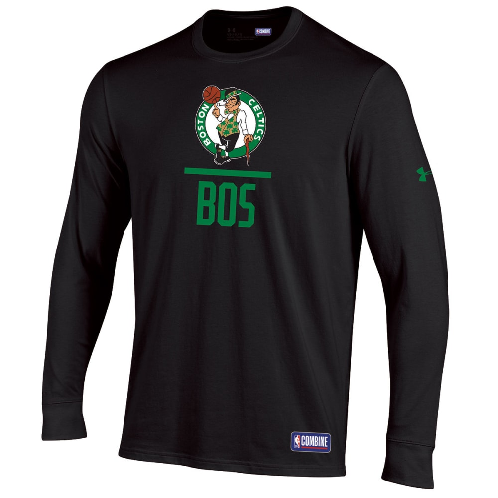 UNDER ARMOUR Men's Boston Celtics Combine Lockup Long-Sleeve Tee - BLACK