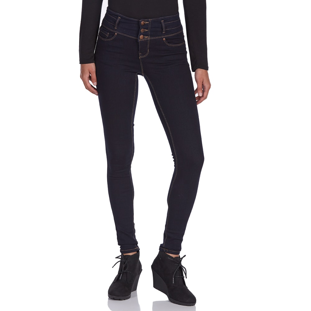 Blue Spice Juniors' High-Rise 3-Button Stacked Waist Skinny Jeans