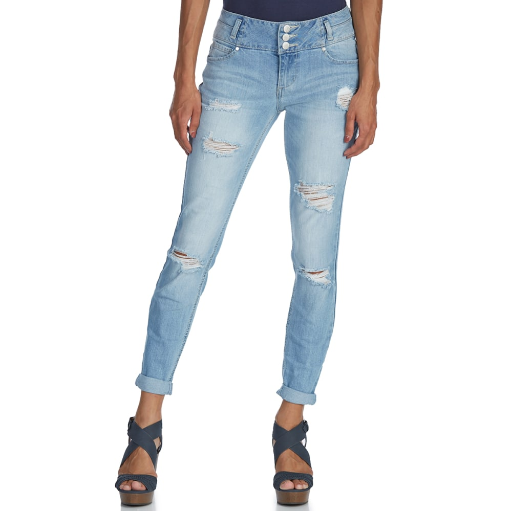 Blue Spice Juniors' 3-Button Stacked Waist Roll-Cuff Jeans