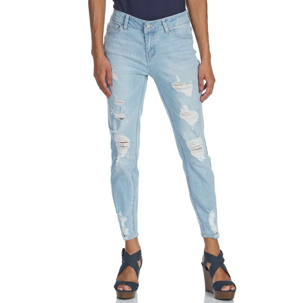 BLUE SPICE Juniors' Destructed High-Rise Skinny Ankle Jeans - LIGHT DARLA