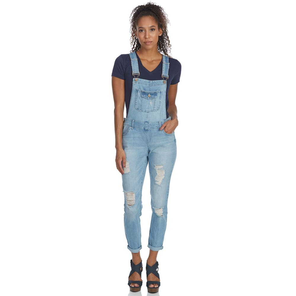 BLUE SPICE Juniors' Flap Pocket Bib Overalls - MEDIUM WASH