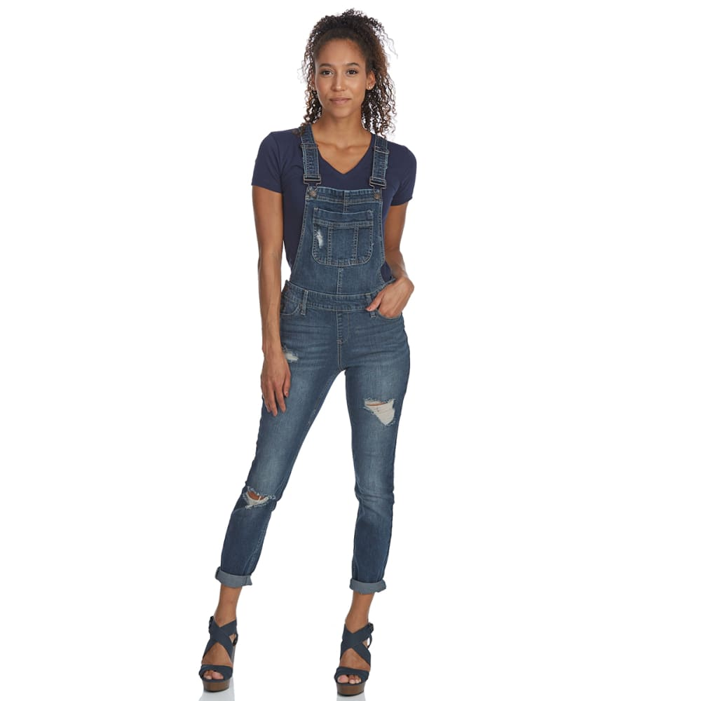 BLUE SPICE Juniors' Destructed Overalls - DARK WASH