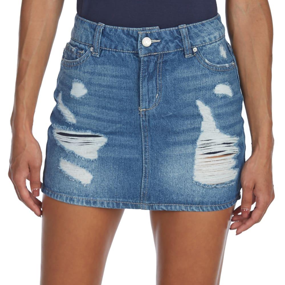 BLUE SPICE Juniors' Destructed High-Waist Denim Mini Skirt - HOLLY WASH