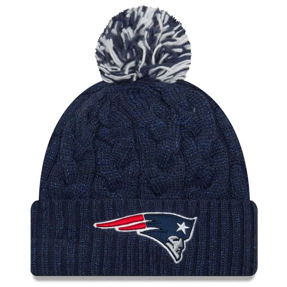 NEW ENGLAND PATRIOTS Women's Cozy Cable Cuff Pom Knit Beanie - NAVY
