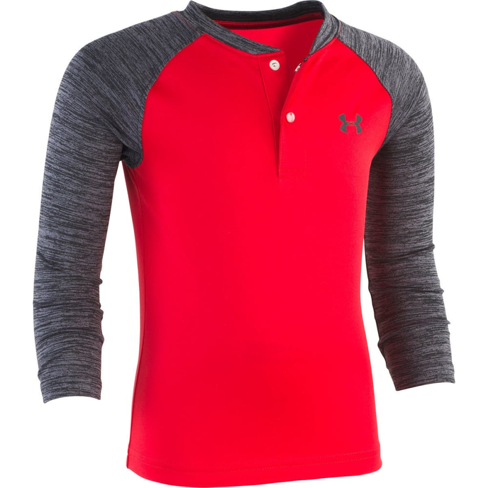 UNDER ARMOUR Little Boys' Long-Sleeve Raglan Henley - RED-60