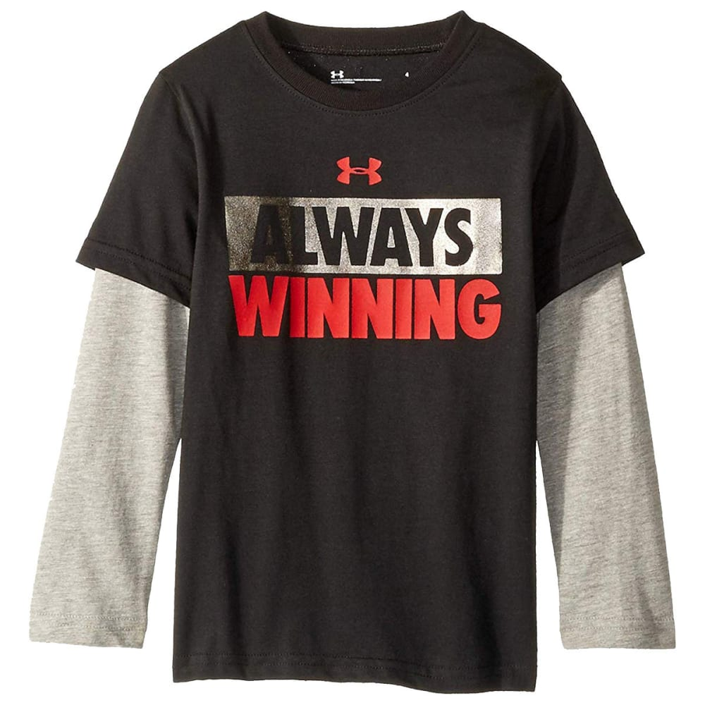 Under Armour Little Boys' Always Winning Slider Long-Sleeve Tee - Black, 7