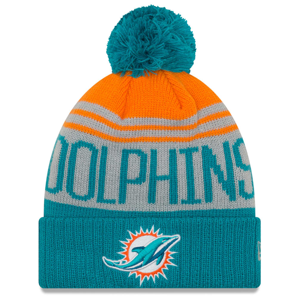 MIAMI DOLPHINS Team Pride Cuff Pom Knit Beanie - TURQUOISE