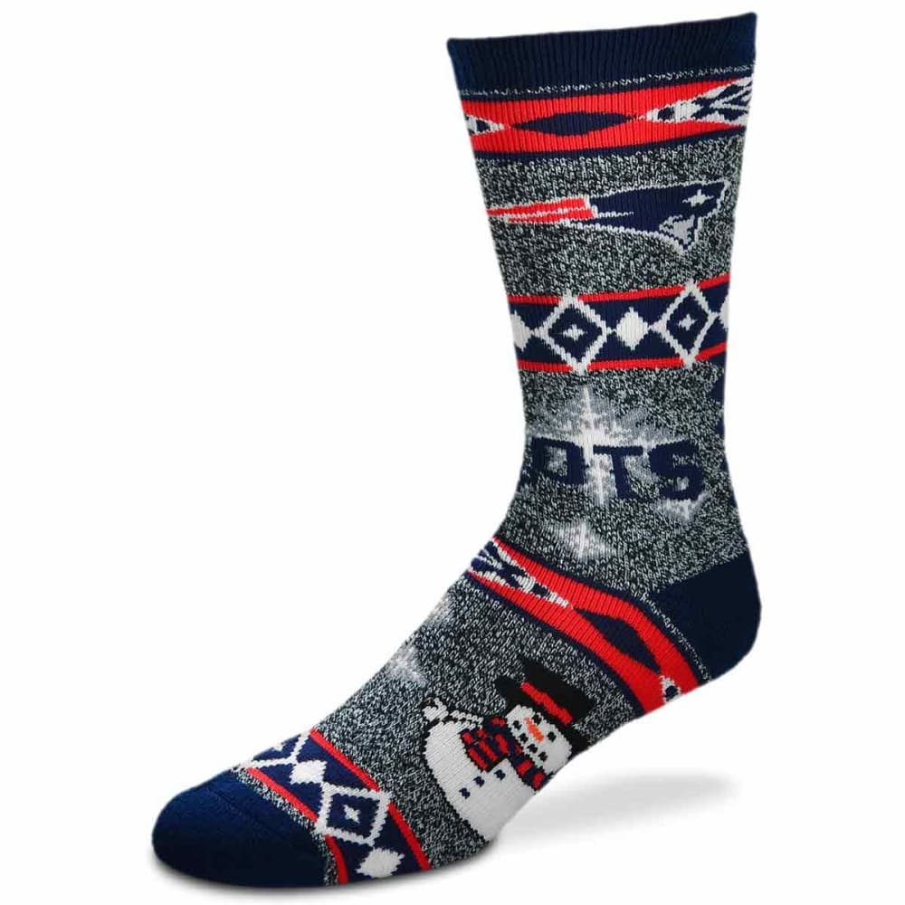 NEW ENGLAND PATRIOTS Holiday Snowman Motif Socks - NAVY