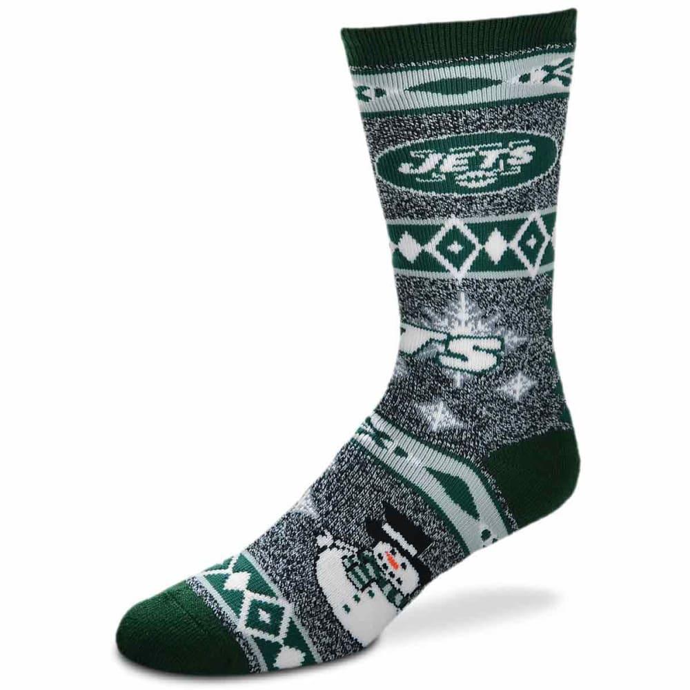 NEW YORK JETS Holiday Snowman Motif Socks - GREEN