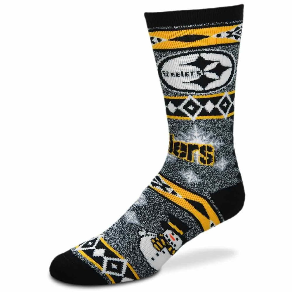PITTSBURGH STEELERS Holiday Snowman Motif Socks - BLACK