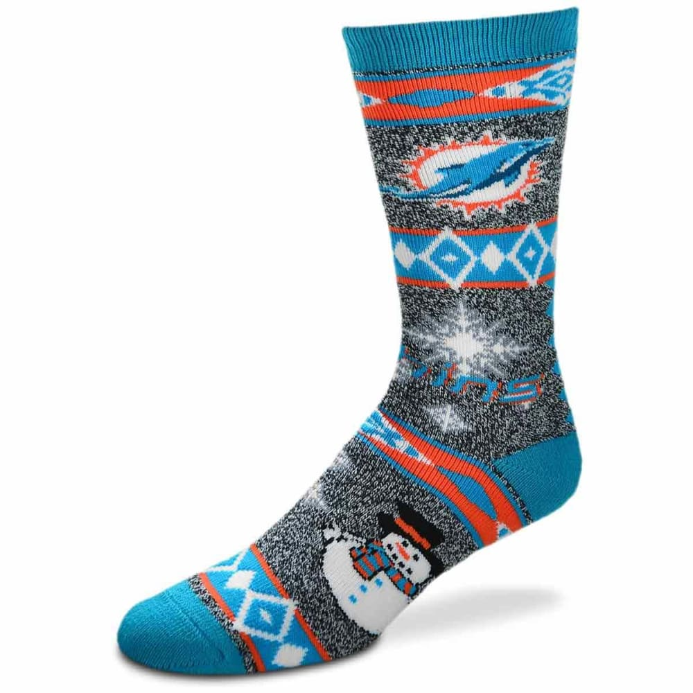 MIAMI DOLPHINS Holiday Snowman Motif Socks - TURQUOISE