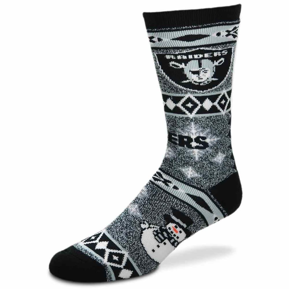 OAKLAND RAIDERS Holiday Snowman Motif Socks - BLACK
