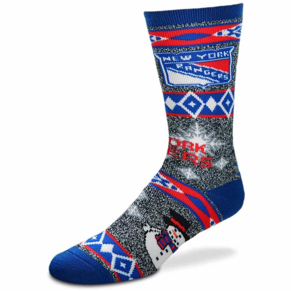 NEW YORK RANGERS Holiday Snowman Motif Socks - ROYAL BLUE