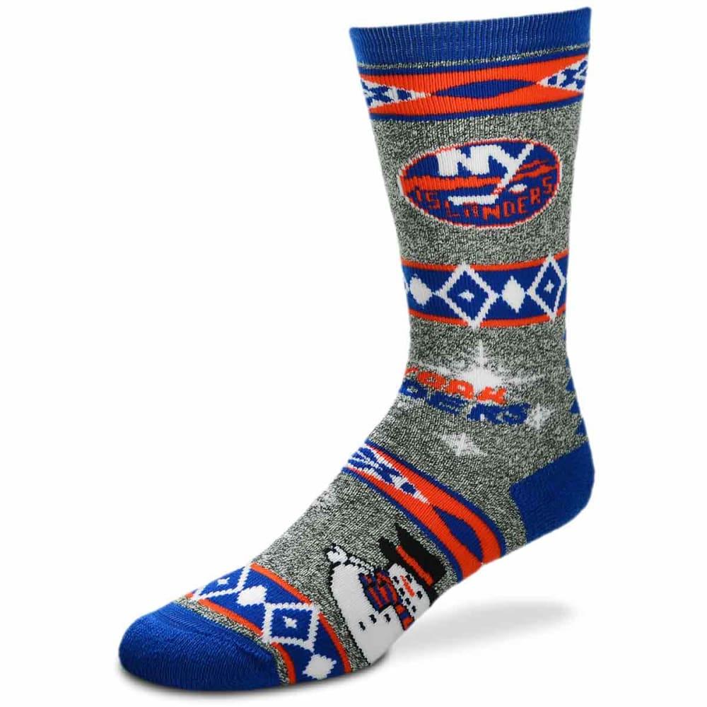 New York Islanders Holiday Snowman Motif Socks - Blue, L